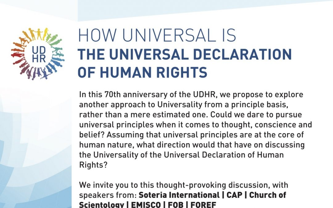 """Side-event OSCE HDIM 2018 : How Universal is """"The Universal Declaration of Human Rights"""