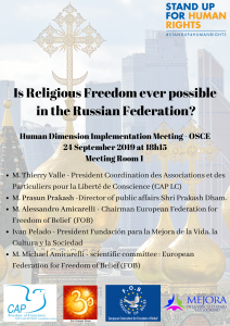 OSCE HIDM 2019 : Is Religious Freedom ever possible in the