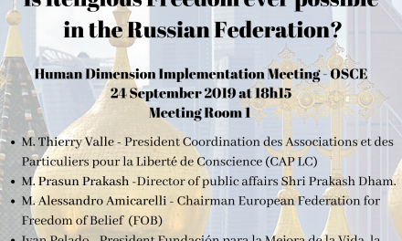 OSCE HIDM 2019 : Is Religious Freedom ever possible in the Russian Federation ?