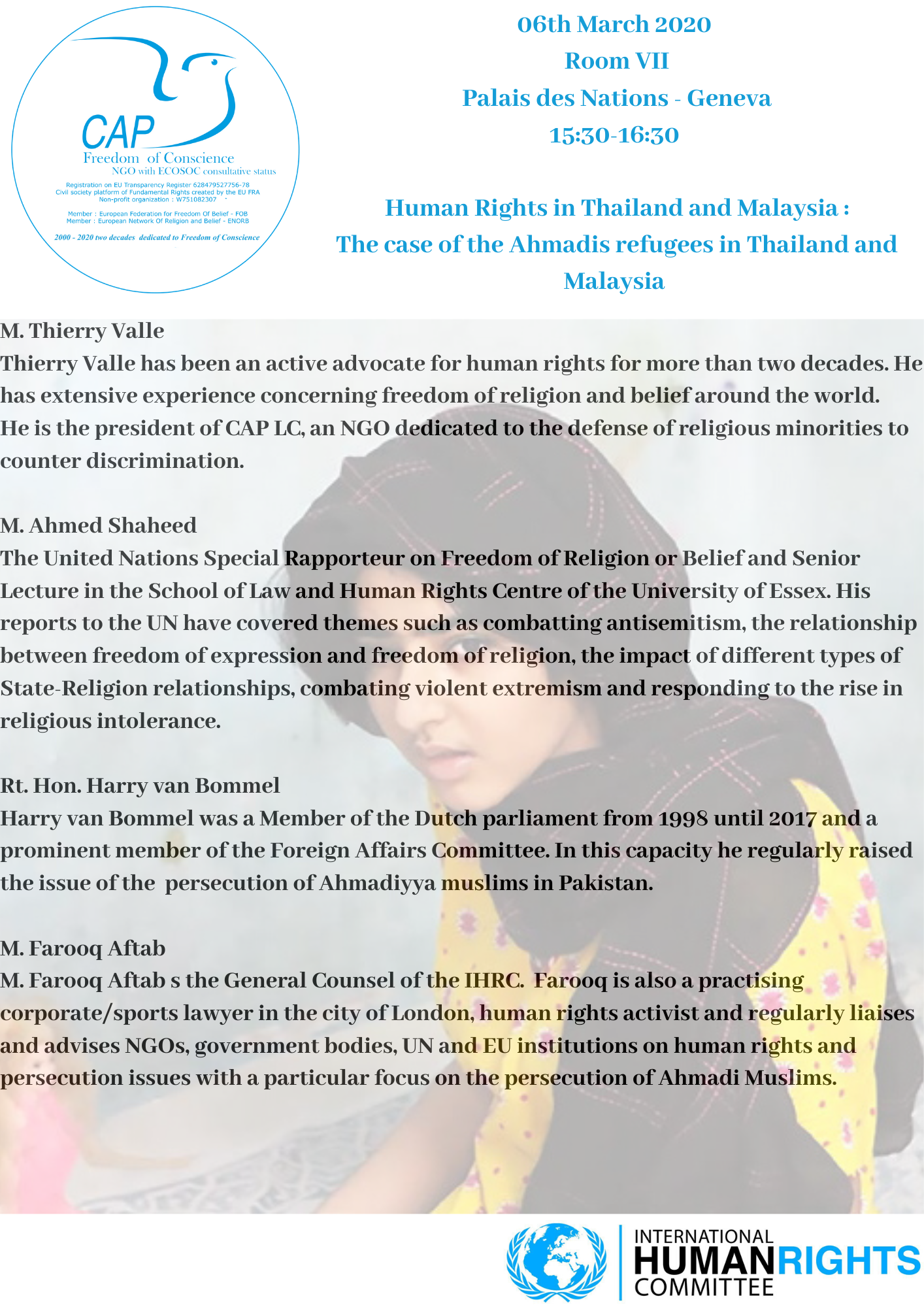Human Rights in Thailand and Malaysia : The case of the Ahmadis refugees in Thailand and Malaysia