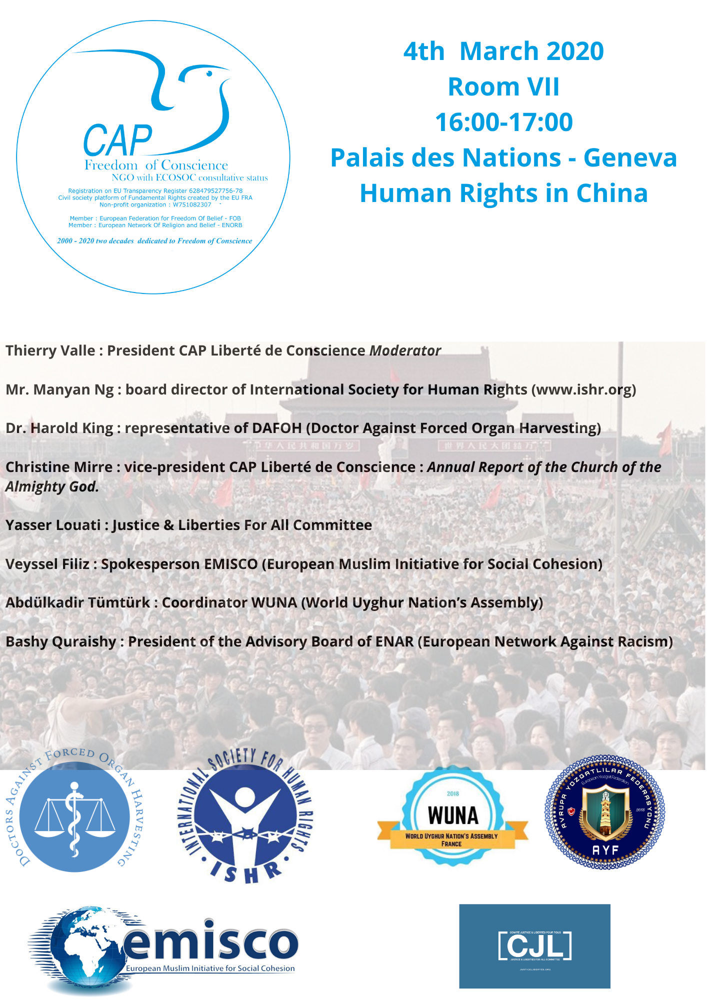 A coalition of NGOs questions the People's Republic of China at the United Nations