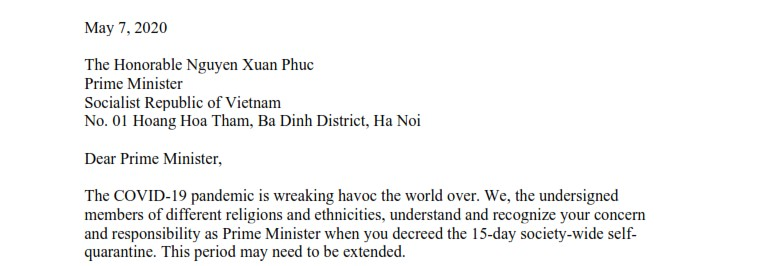 Joint letter to Vietnam's Prime Minister