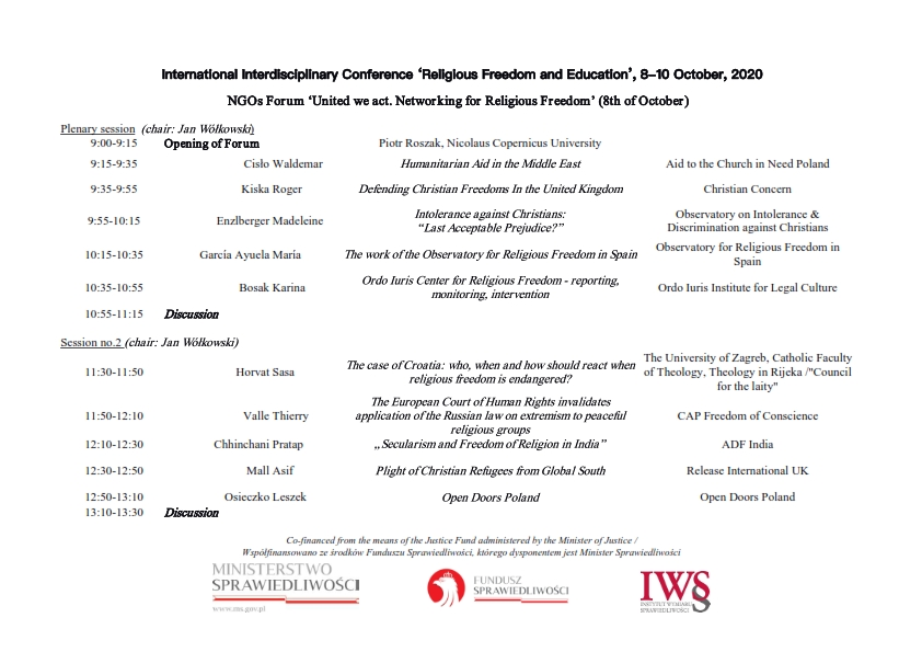International Interdisciplinary Conference 'Religious Freedom and Education', 8-10 October, 2020
