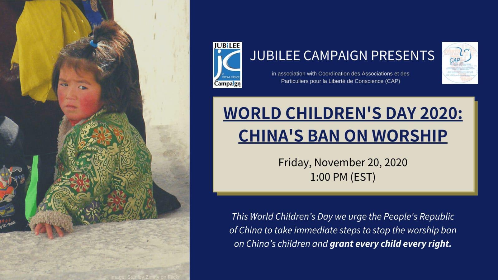 World Children's Day 2020: China's Ban on Worship