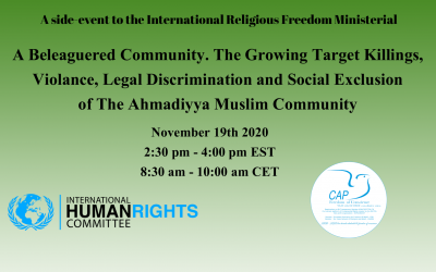 Pakistan : A Beleaguered Community. The Growing Target Killings, Violence, Legal Discrimination and Social Exclusion of The Ahmadiyya Muslim Community