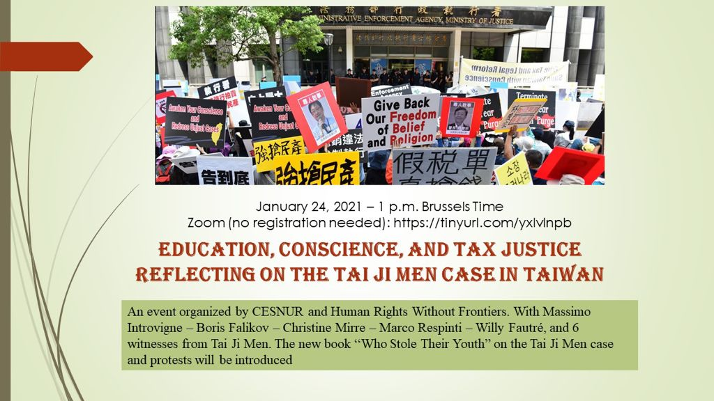 Conference 24th January 2021 : Education Conscience and Tax Justice reflecting on the TAI JI MEN case in Taiwan
