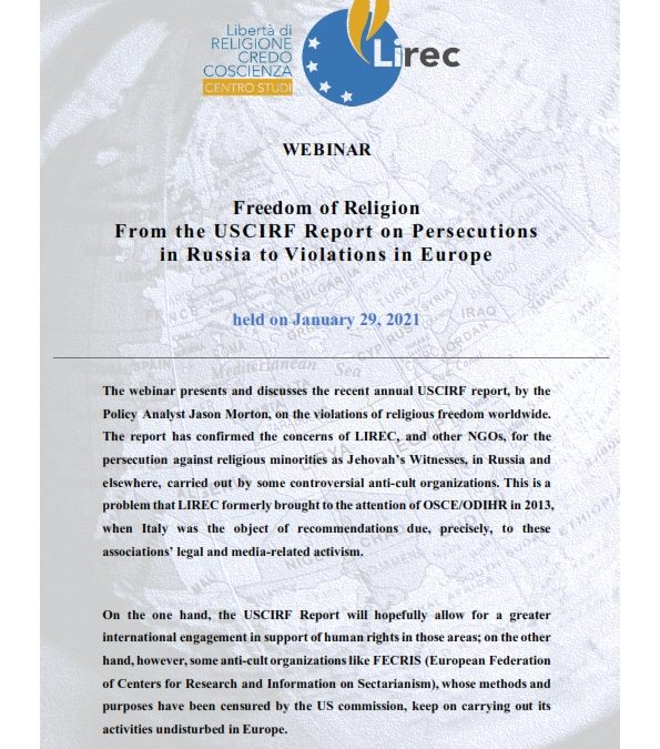 PUBLICATION: Freedom of Religion from the USCIRF Report on Persecutions in Russia to Violations in Europe