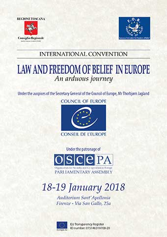 """Presentation of the Final Acts of the convention """"Law and Freedom of Belief in Europe, an arduous journey"""" and launch of the project """"Right to Truth"""""""