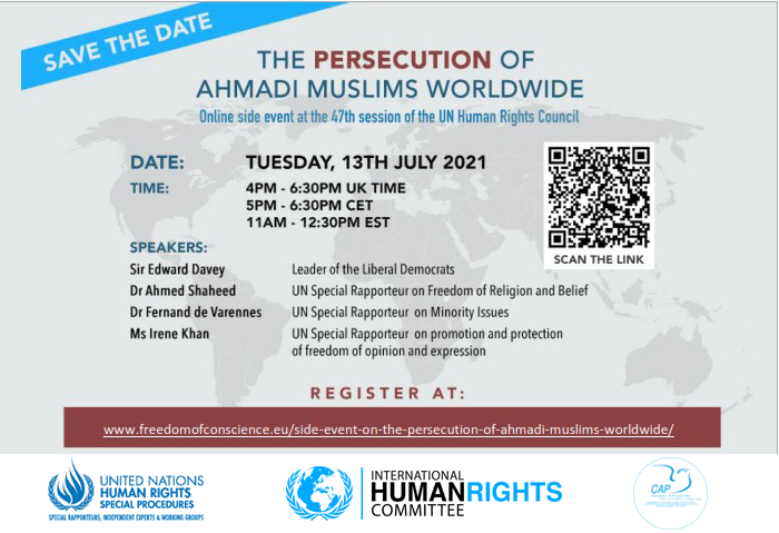13th July conference the persecution of Ahmadi Muslims Worldwide